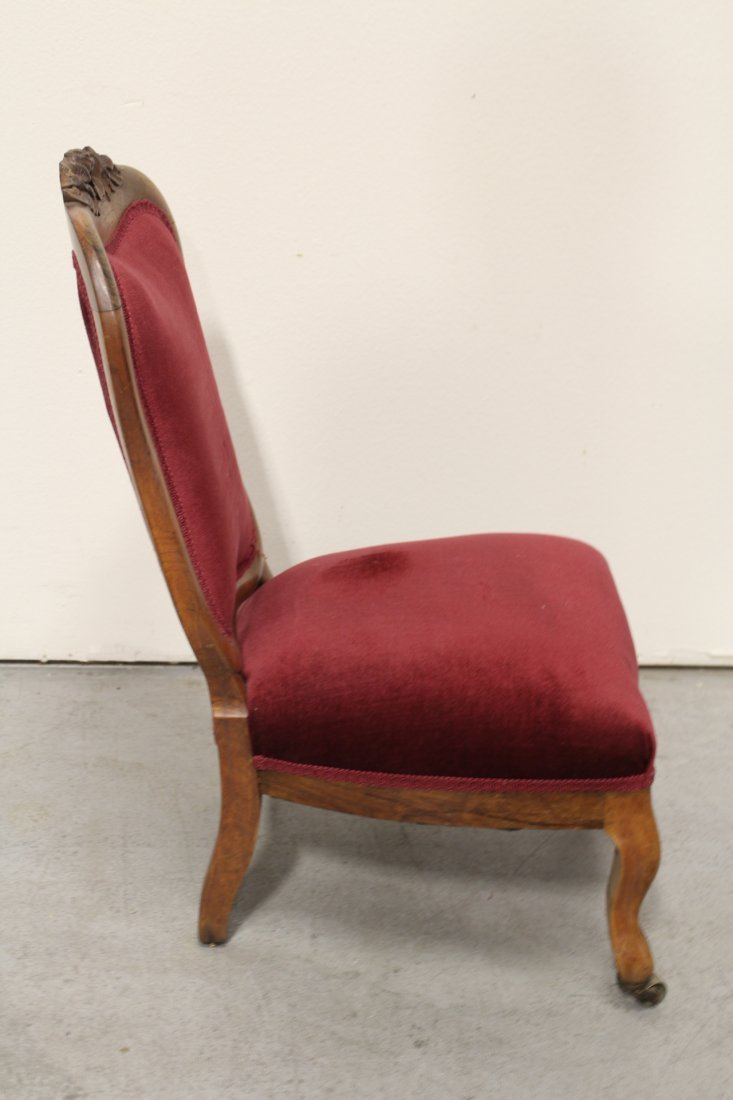 Rare Victorian walnut framed slipper chair - 8