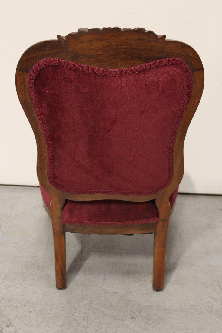 Rare Victorian walnut framed slipper chair - 9
