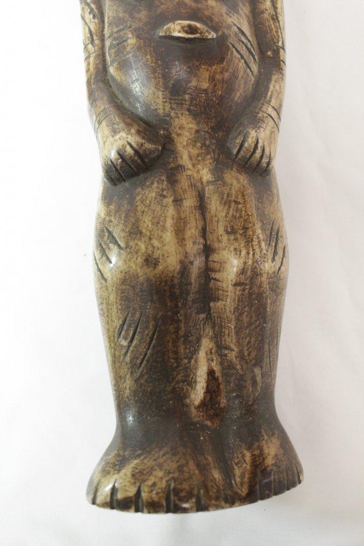 Pair rare bone carved Tiki, possible Hawaiian - 10