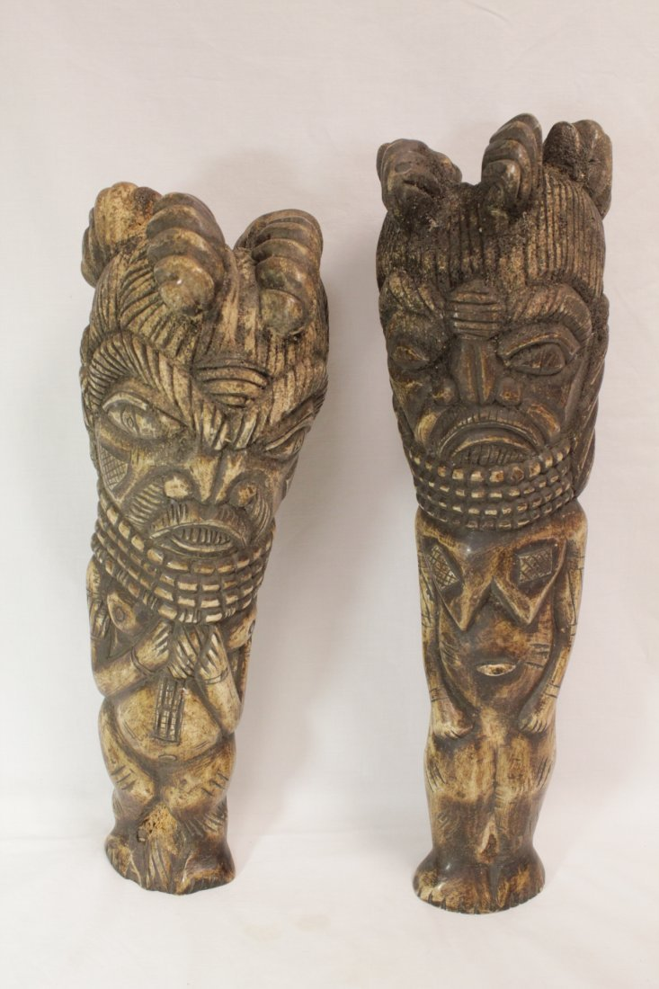 Pair rare bone carved Tiki, possible Hawaiian