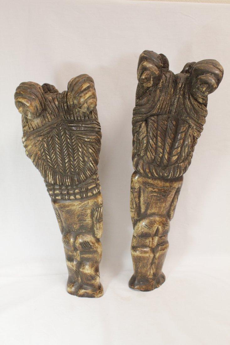 Pair rare bone carved Tiki, possible Hawaiian - 2