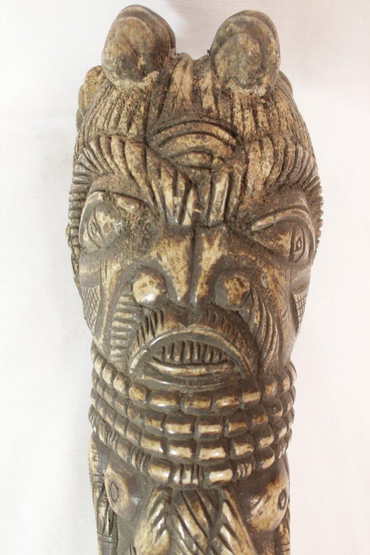 Pair rare bone carved Tiki, possible Hawaiian - 5