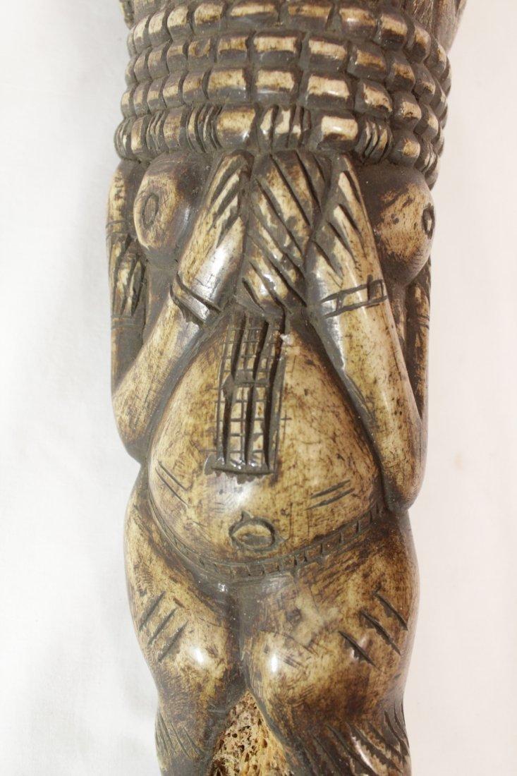 Pair rare bone carved Tiki, possible Hawaiian - 6