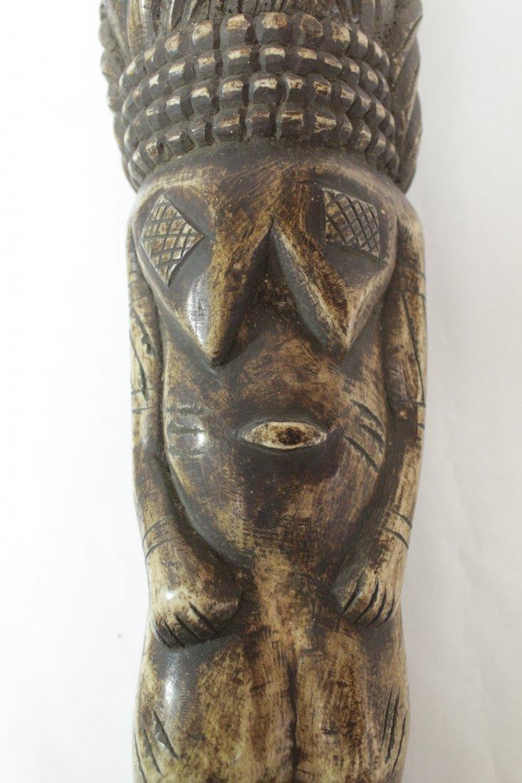 Pair rare bone carved Tiki, possible Hawaiian - 9