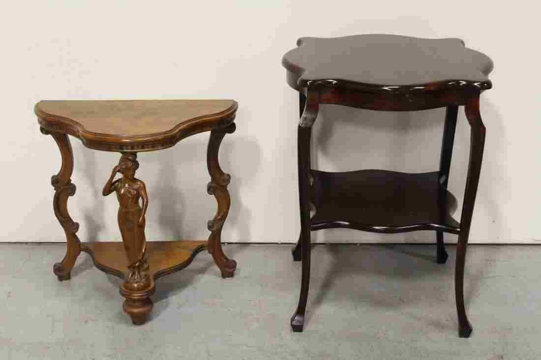 Mahogany parlor table, and a small console table