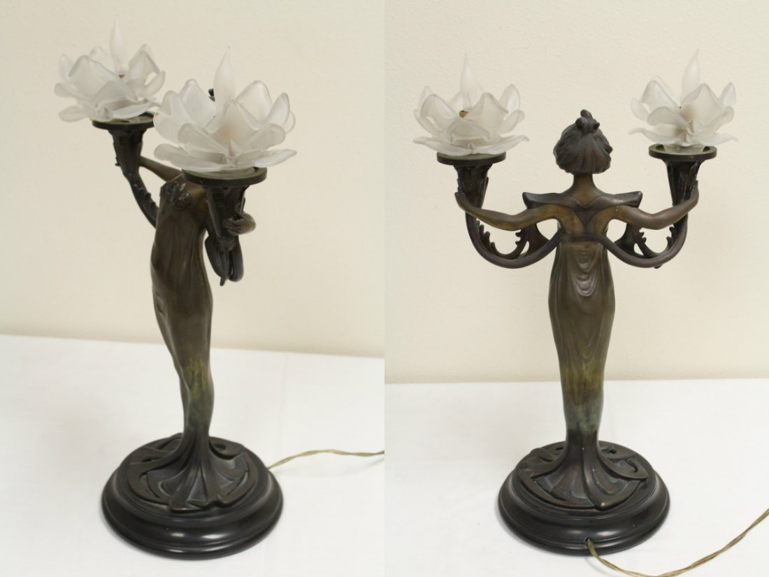 Bronze lamp with base in nude motif - 9
