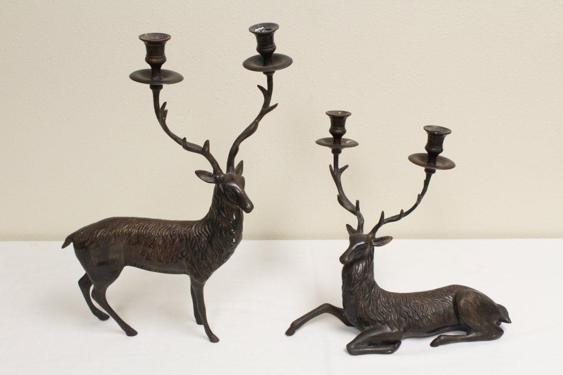 Pair metal candle holder in deer motif