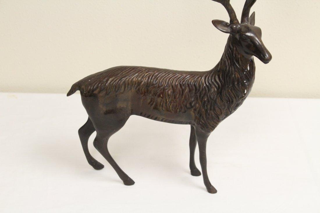 Pair metal candle holder in deer motif - 3