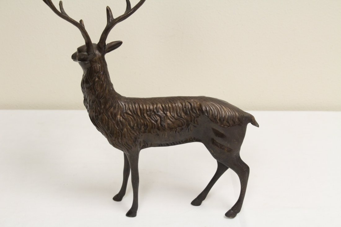 Pair metal candle holder in deer motif - 5
