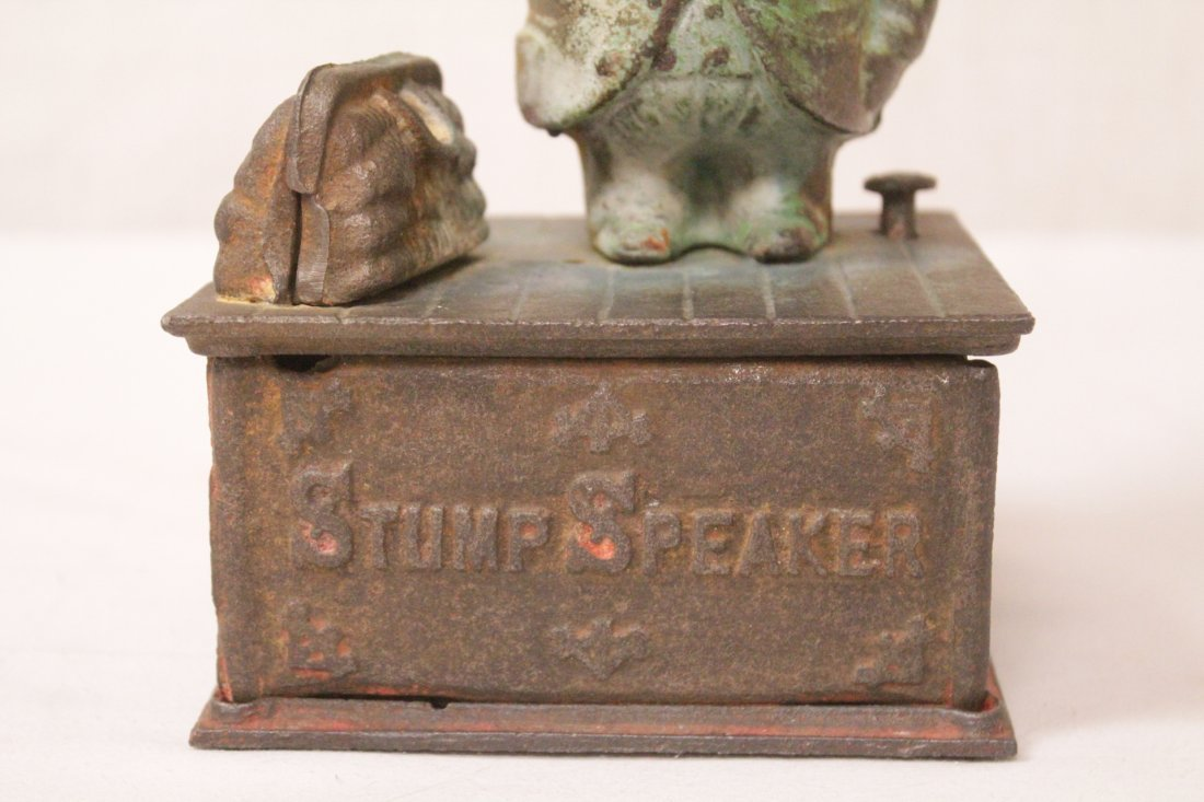 "Vintage cast iron bank ""stump speaker"" - 7"