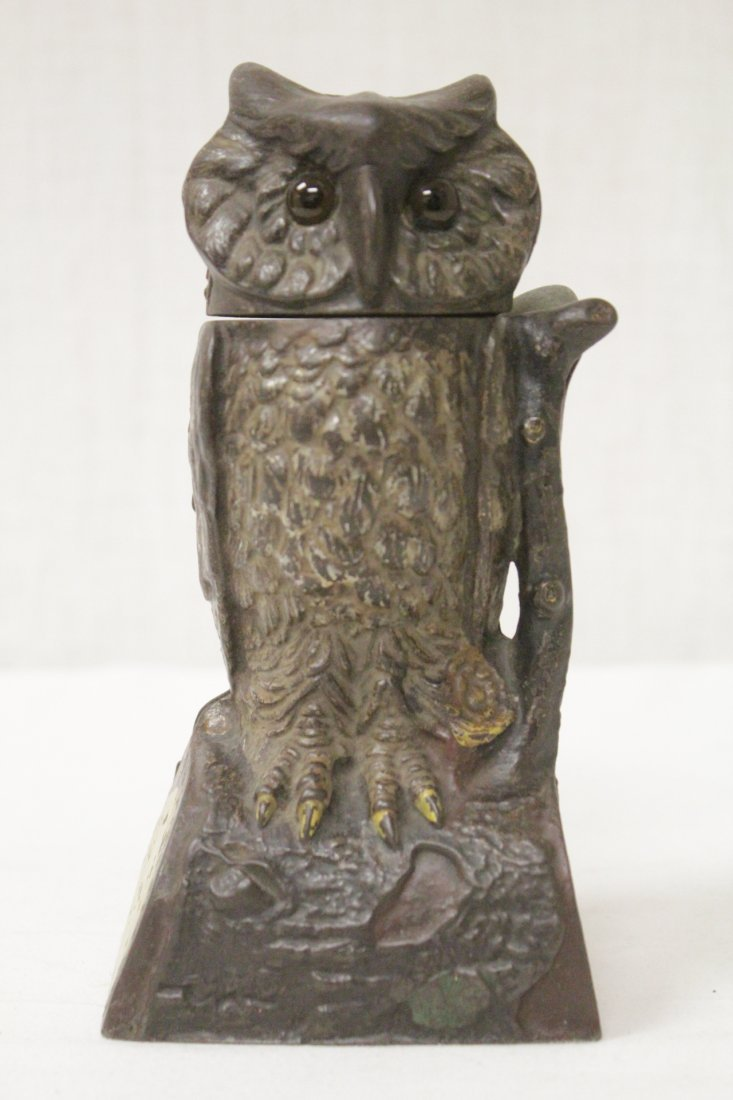 "Vintage cast iron bank ""turning head owl"""