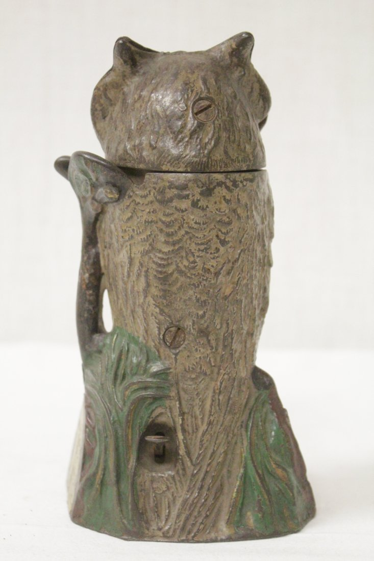"Vintage cast iron bank ""turning head owl"" - 3"