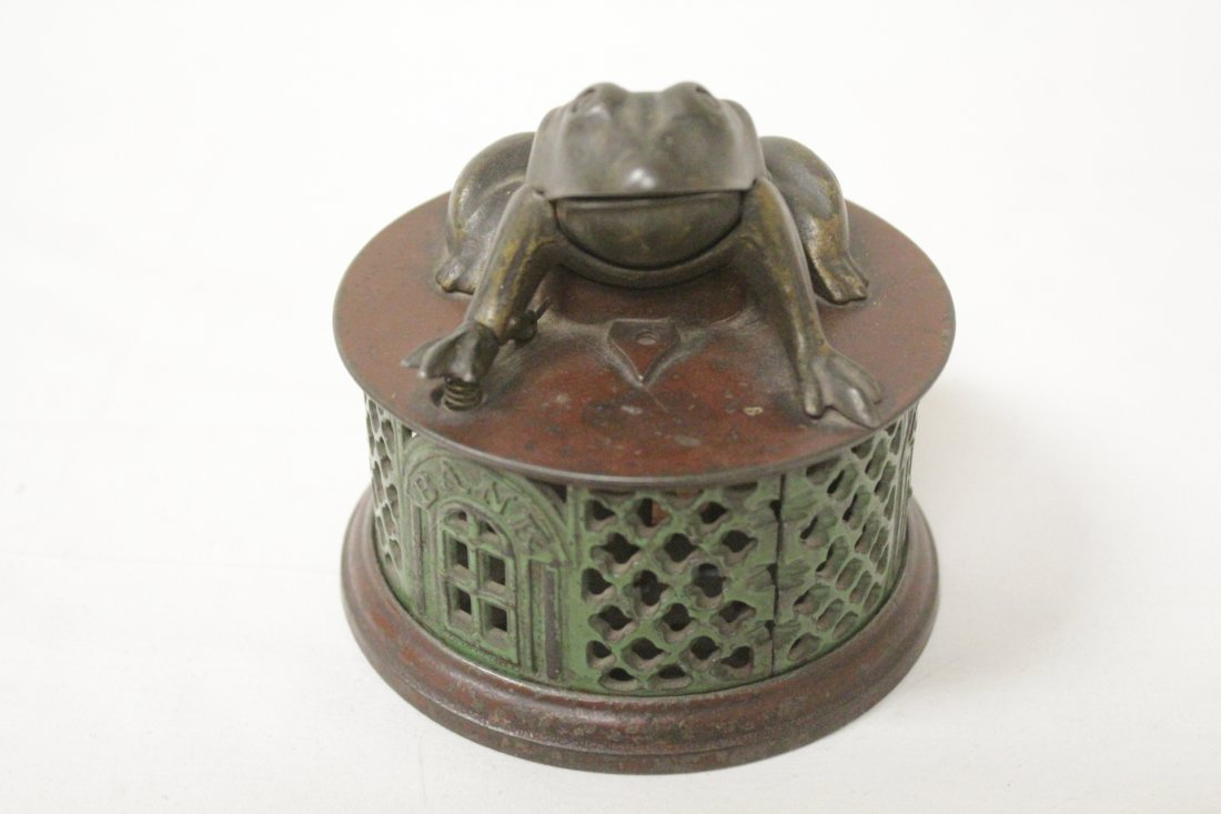 "Vintage cast iron bank ""frog bank"""