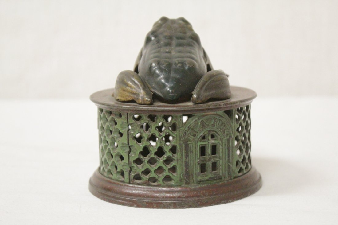 "Vintage cast iron bank ""frog bank"" - 4"