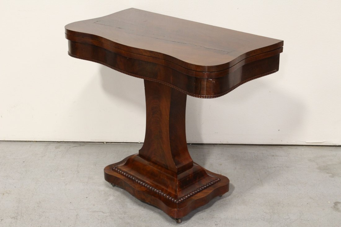 A flame mahogany period empire game table - 3