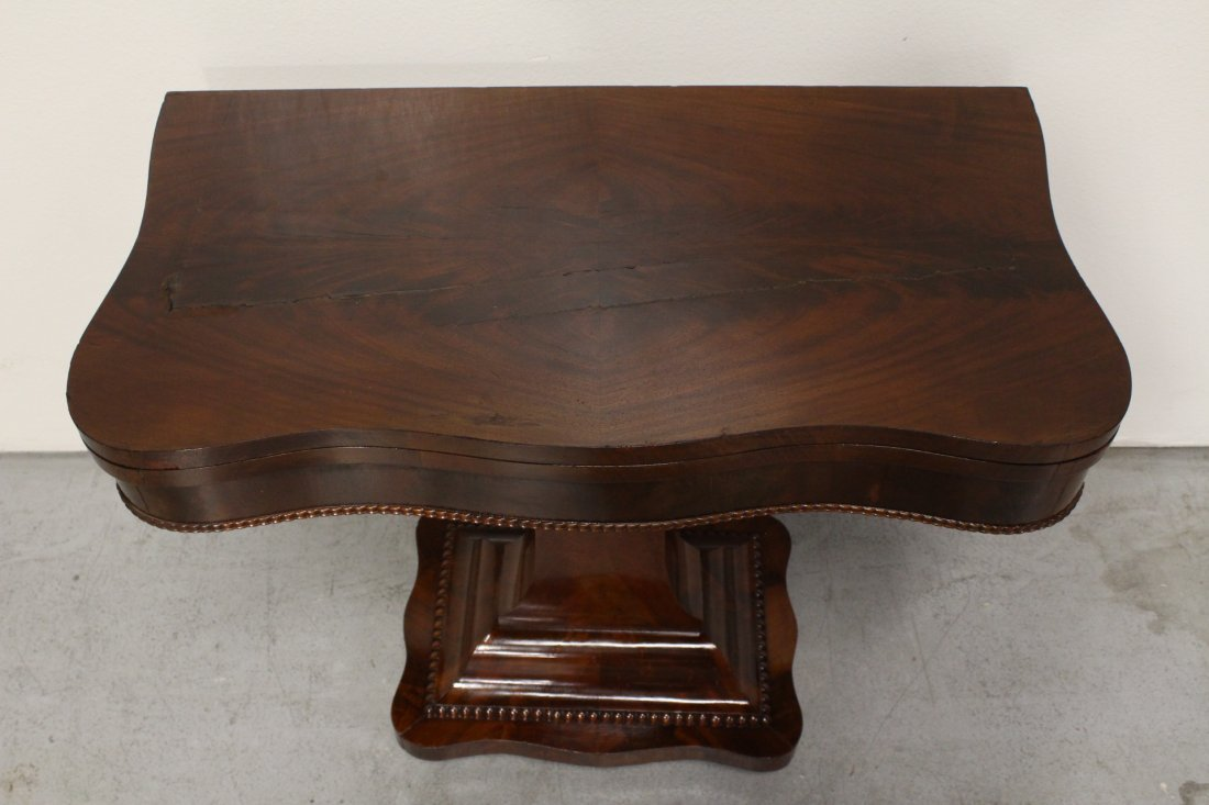A flame mahogany period empire game table - 8