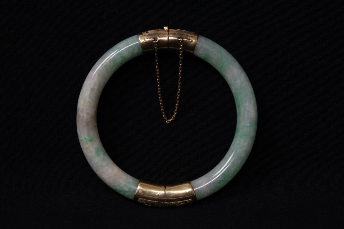 Chinese antique jadeite bracelet with 14K spacer