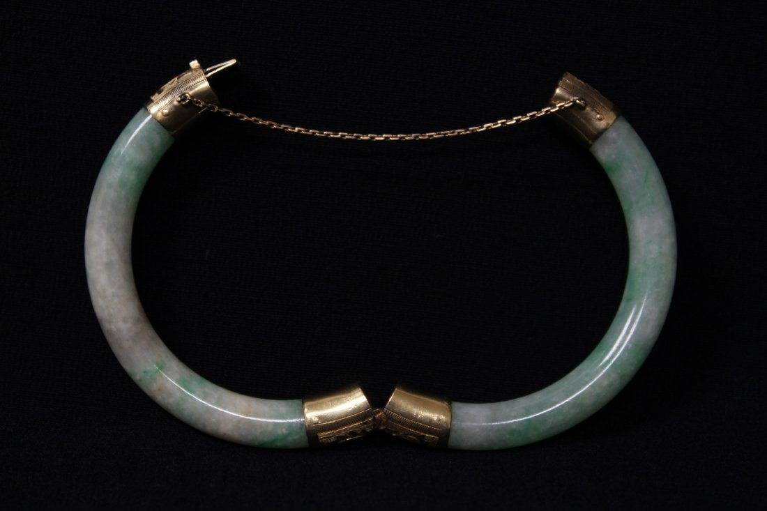 Chinese antique jadeite bracelet with 14K spacer - 3