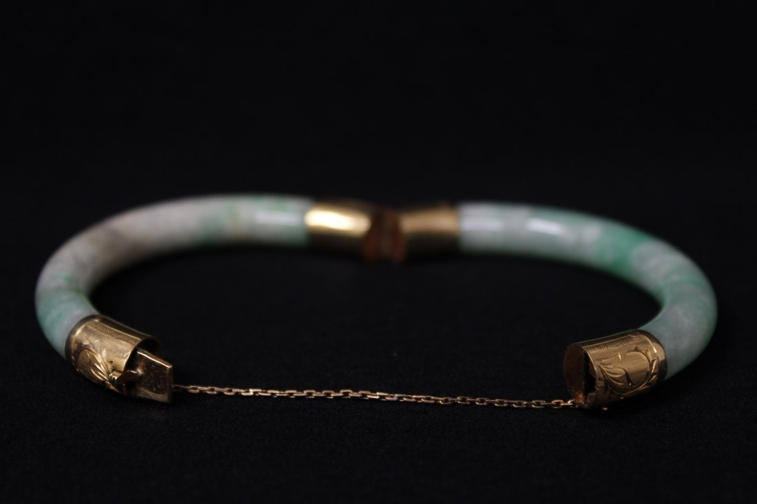 Chinese antique jadeite bracelet with 14K spacer - 4