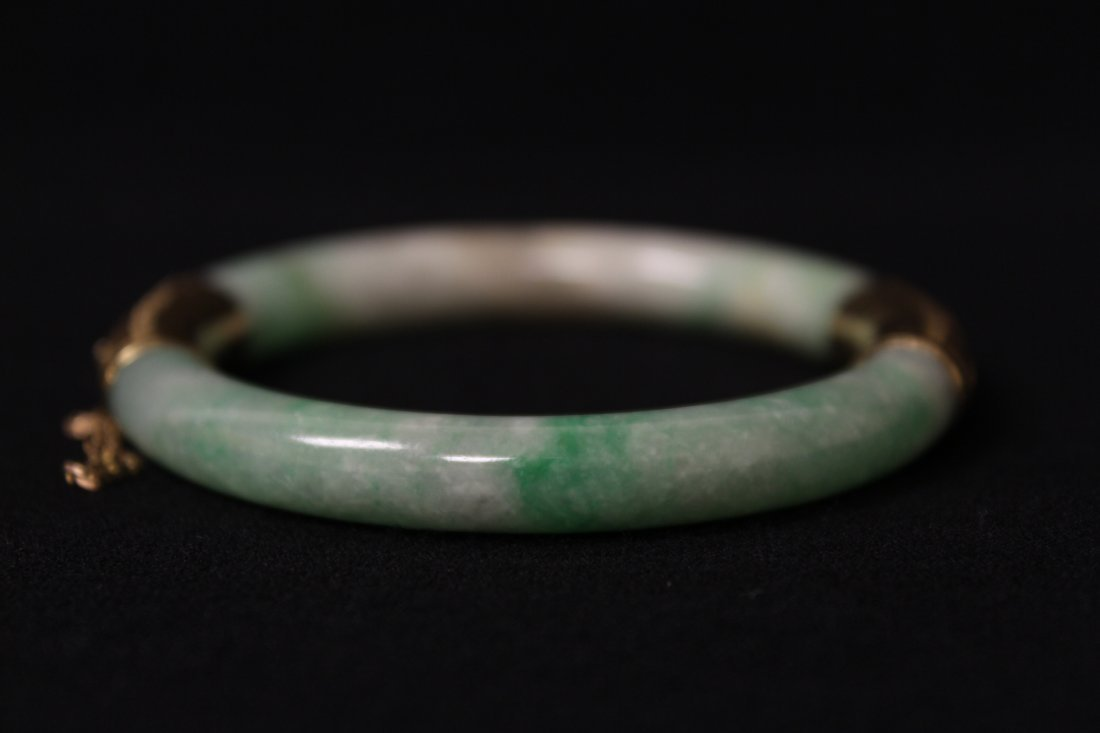 Chinese antique jadeite bracelet with 14K spacer - 5