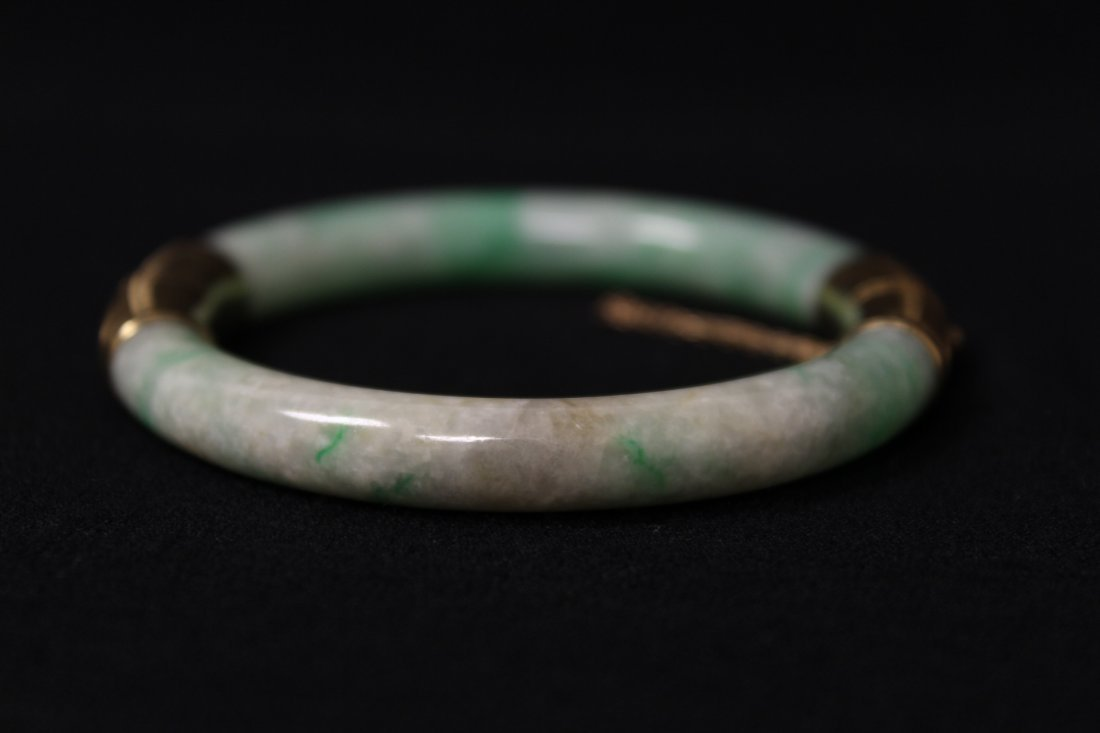 Chinese antique jadeite bracelet with 14K spacer - 6