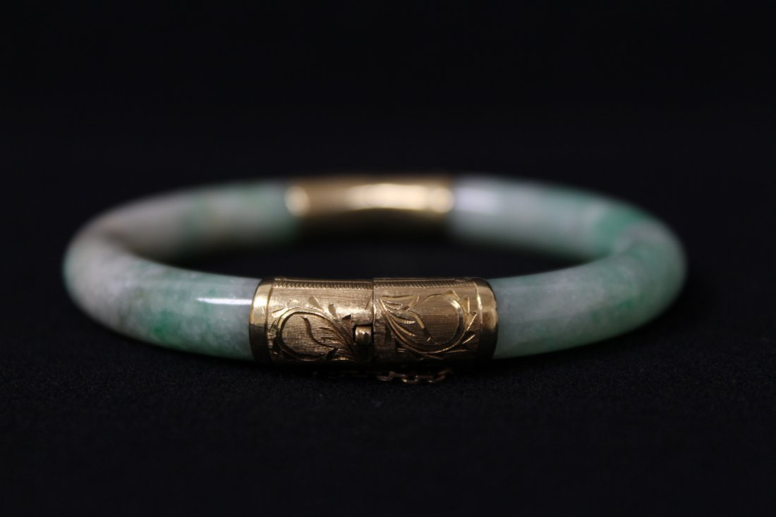 Chinese antique jadeite bracelet with 14K spacer - 7