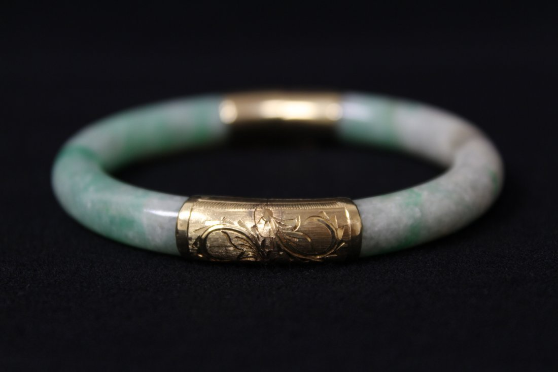 Chinese antique jadeite bracelet with 14K spacer - 8