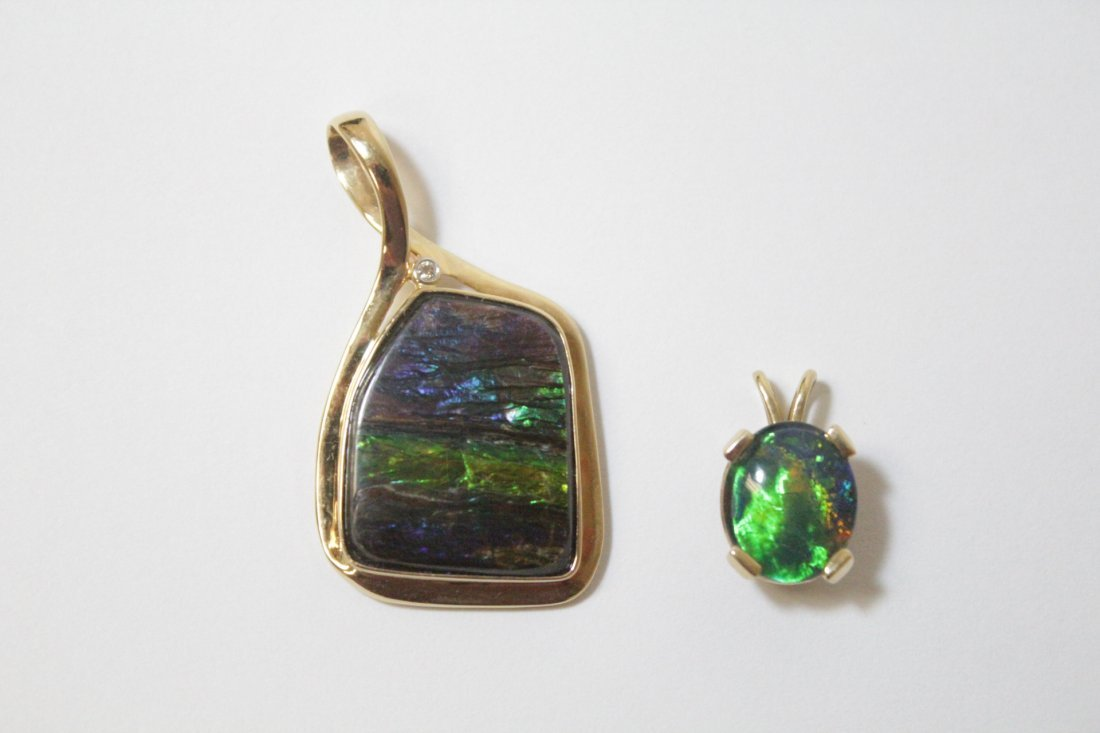 Two 14K Y/G pendant set with synthetic opals