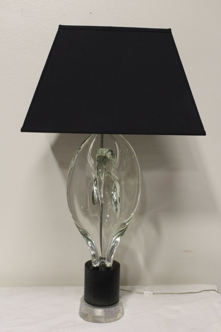 Large art glass lamp with Lucite base - 2