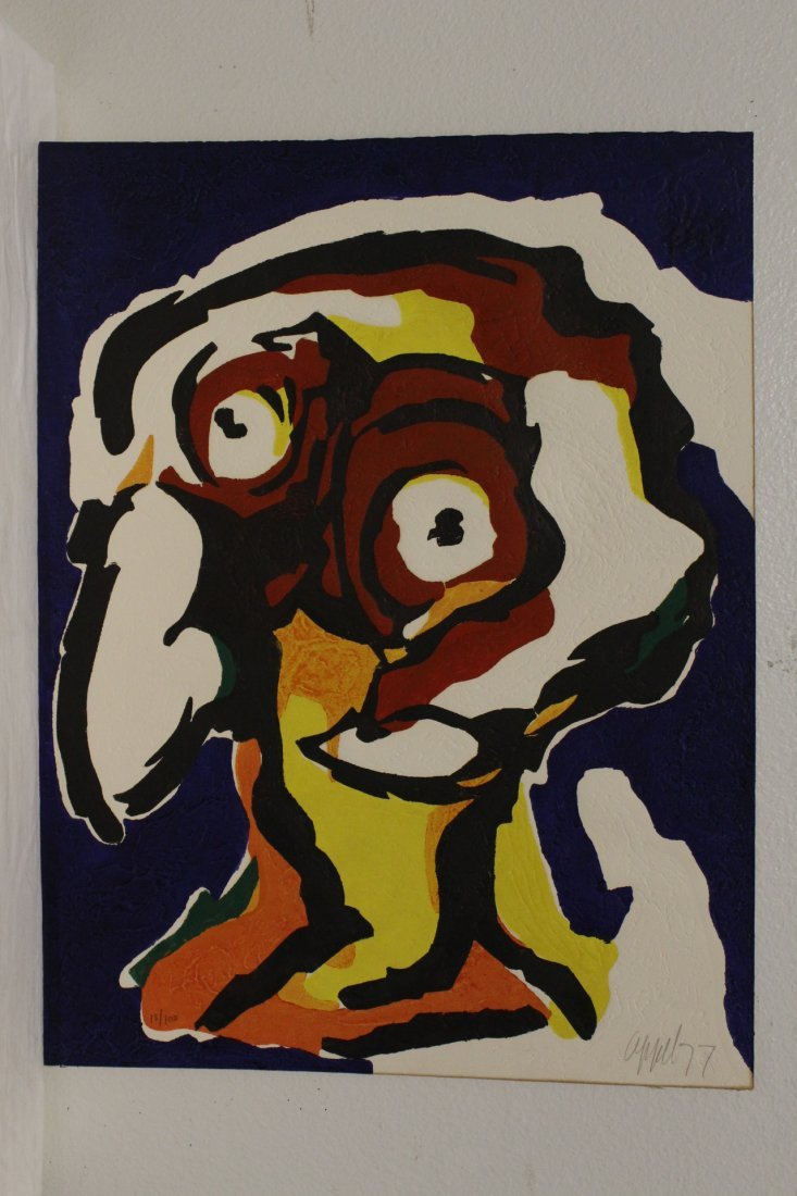 """Etching """"abstract"""" by Karel Appel, dated 1977"""