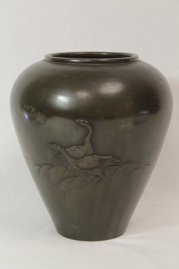 Japanese 18th/19th c. bronze jar, signed by artist