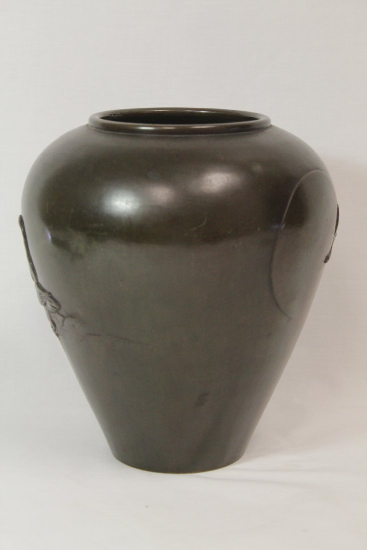Japanese 18th/19th c. bronze jar, signed by artist - 2