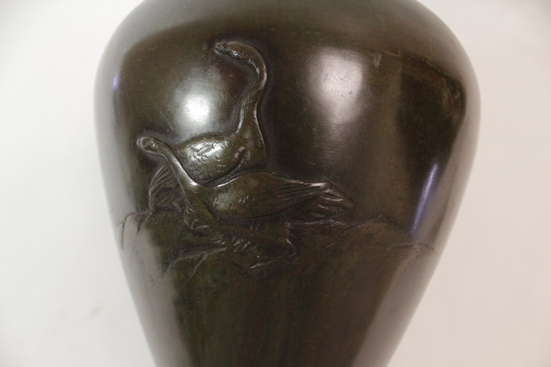 Japanese 18th/19th c. bronze jar, signed by artist - 7