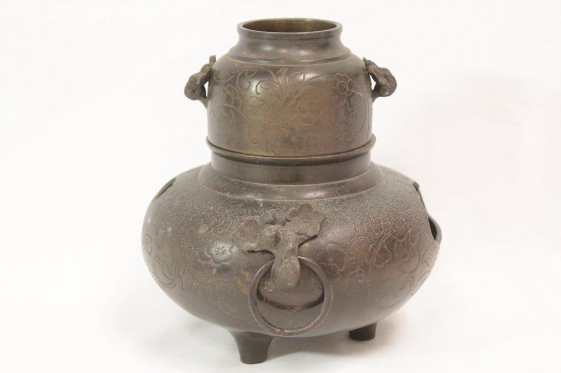 Japanese antique bronze censer - 2