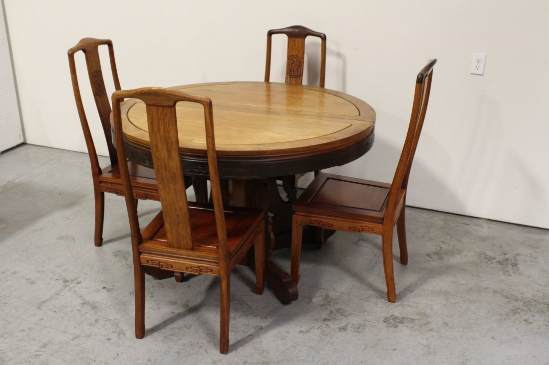 Chinese rosewood round table with 4 chairs