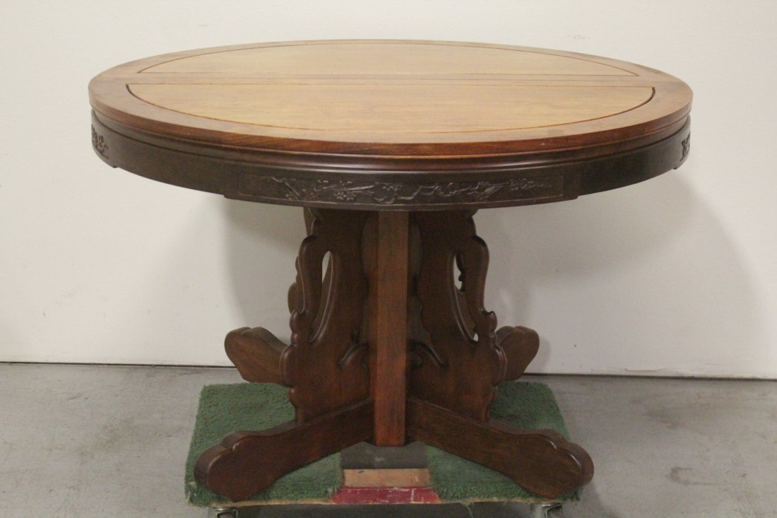 Chinese rosewood round table with 4 chairs - 2