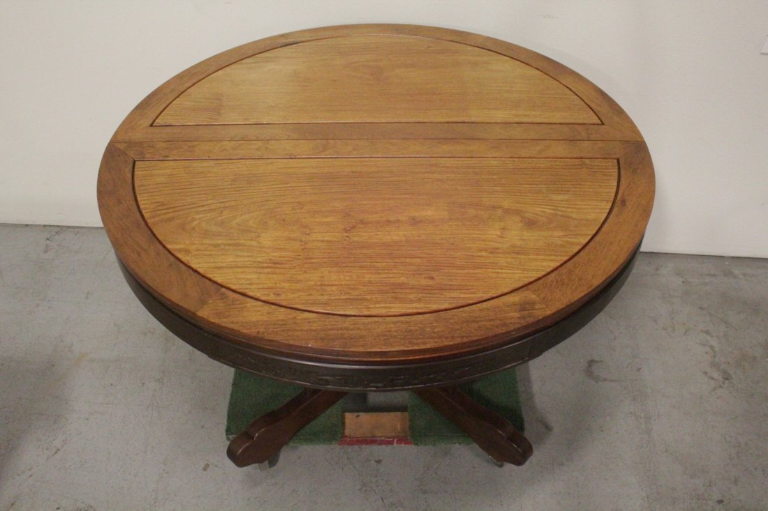 Chinese rosewood round table with 4 chairs - 4