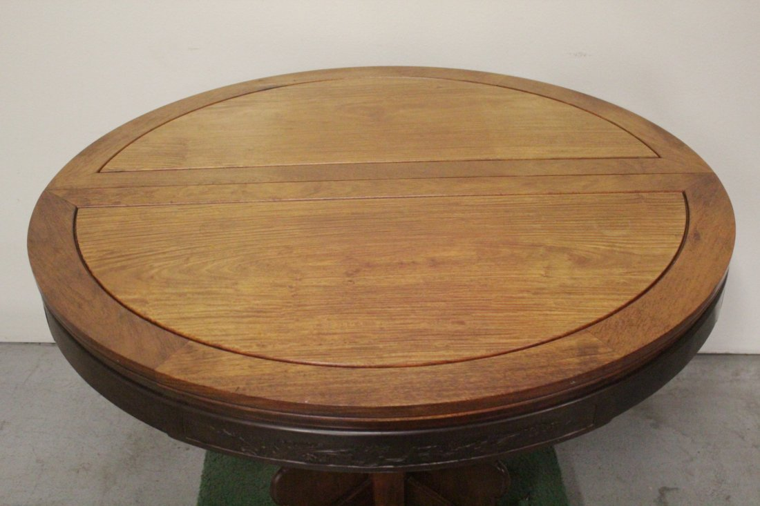 Chinese rosewood round table with 4 chairs - 7