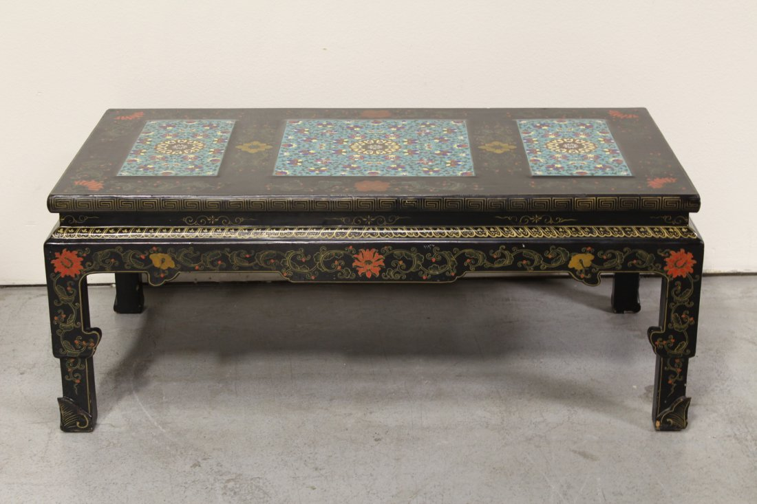 Chinese lacquer low table with 3 cloisonne plaques - 10