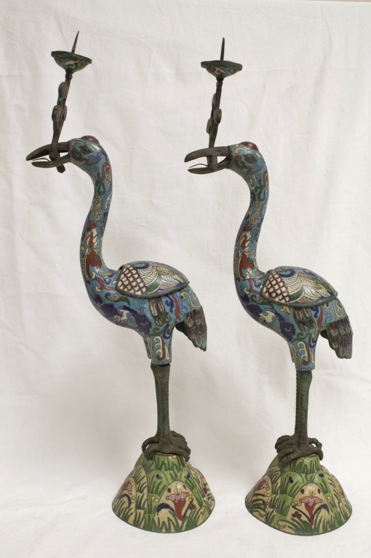 Pair Chinese 19th/20th century candle holders