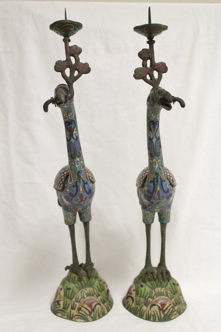 Pair Chinese 19th/20th century candle holders - 2