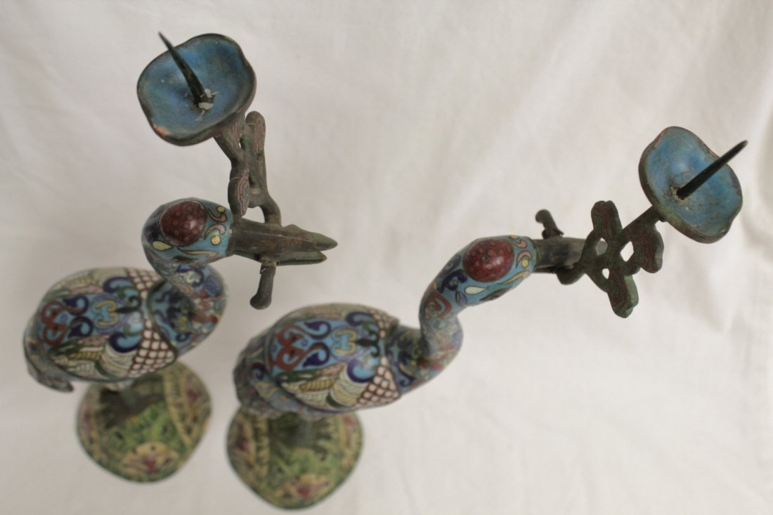 Pair Chinese 19th/20th century candle holders - 5