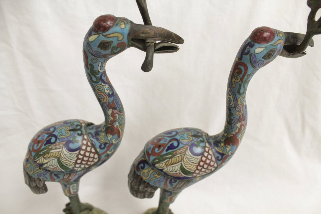 Pair Chinese 19th/20th century candle holders - 6