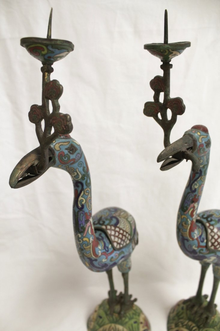 Pair Chinese 19th/20th century candle holders - 9