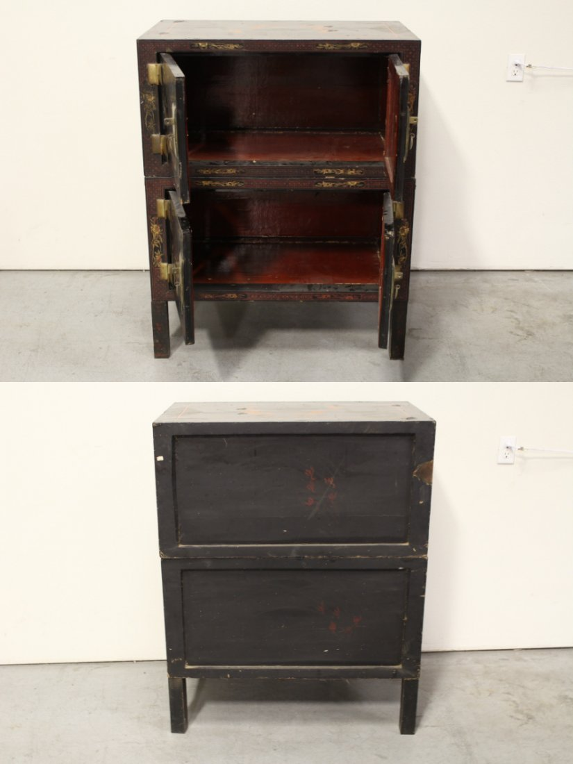 Chinese 19th c. 2-section painted lacquer chest - 10