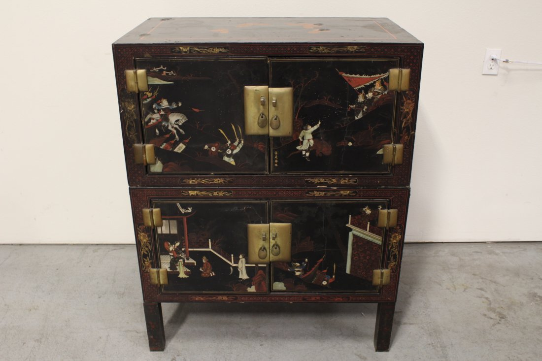 Chinese 19th c. 2-section painted lacquer chest
