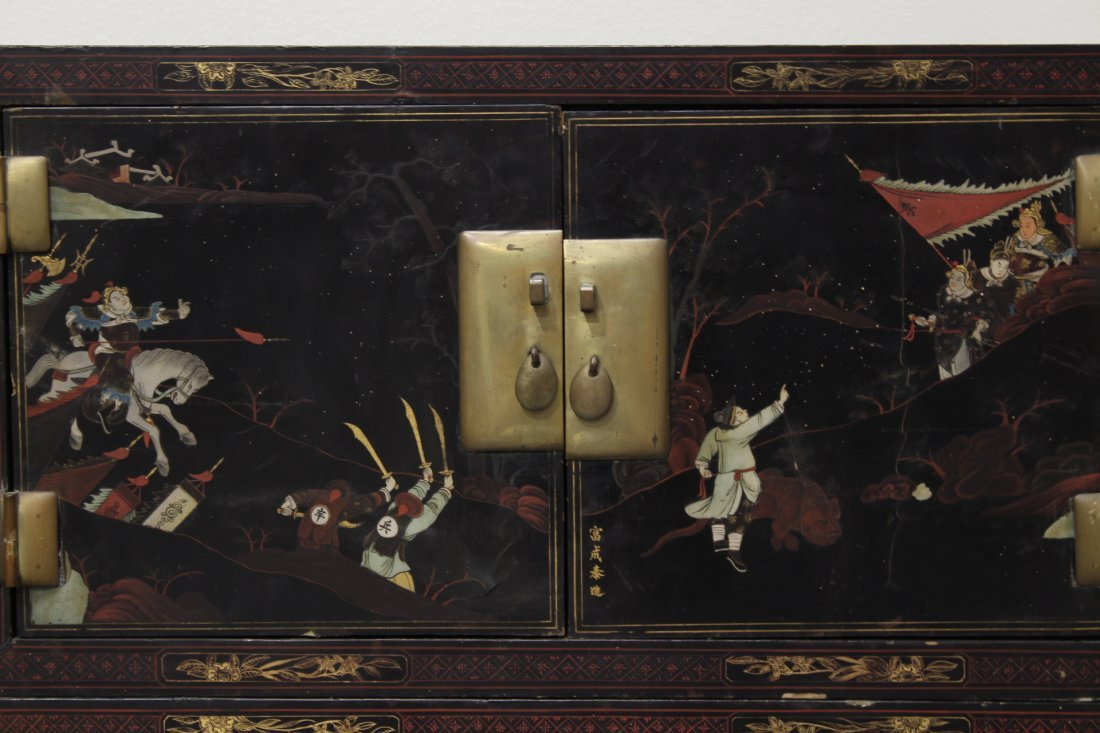 Chinese 19th c. 2-section painted lacquer chest - 5