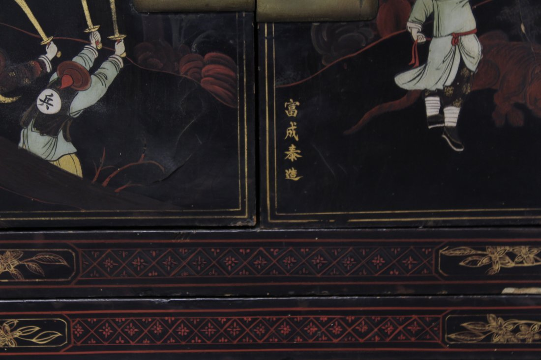 Chinese 19th c. 2-section painted lacquer chest - 8