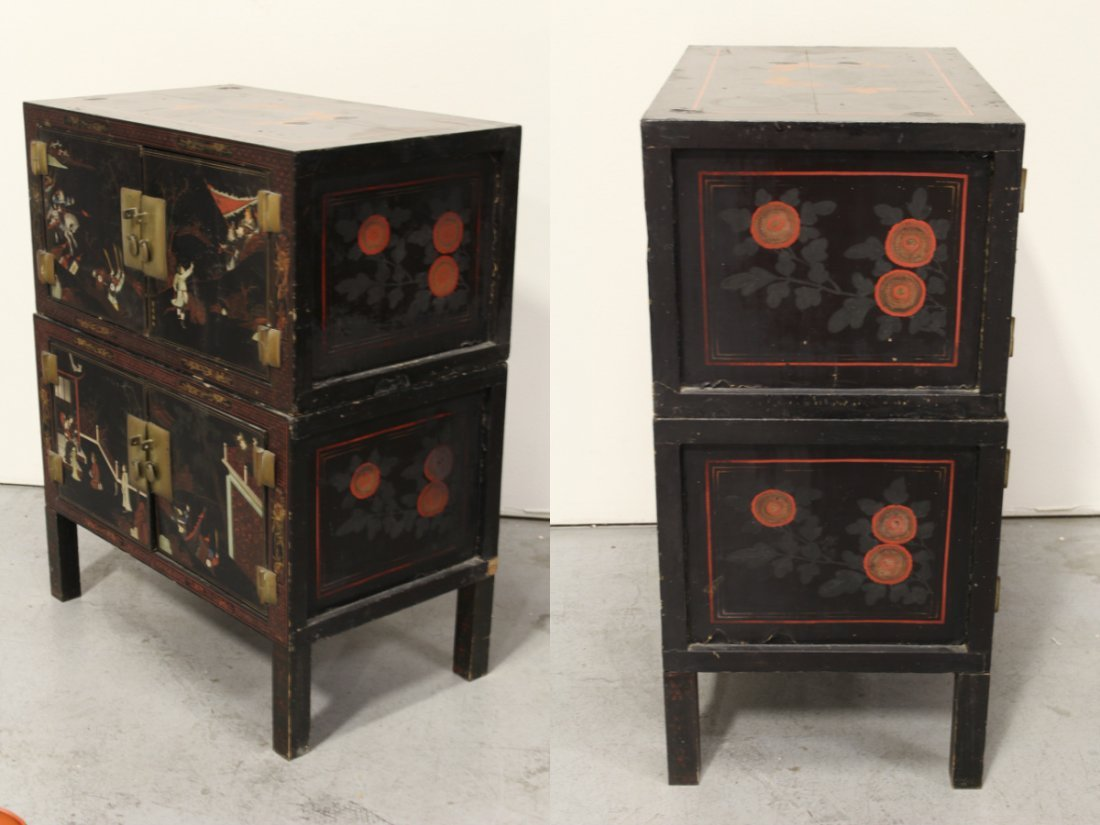 Chinese 19th c. 2-section painted lacquer chest - 9