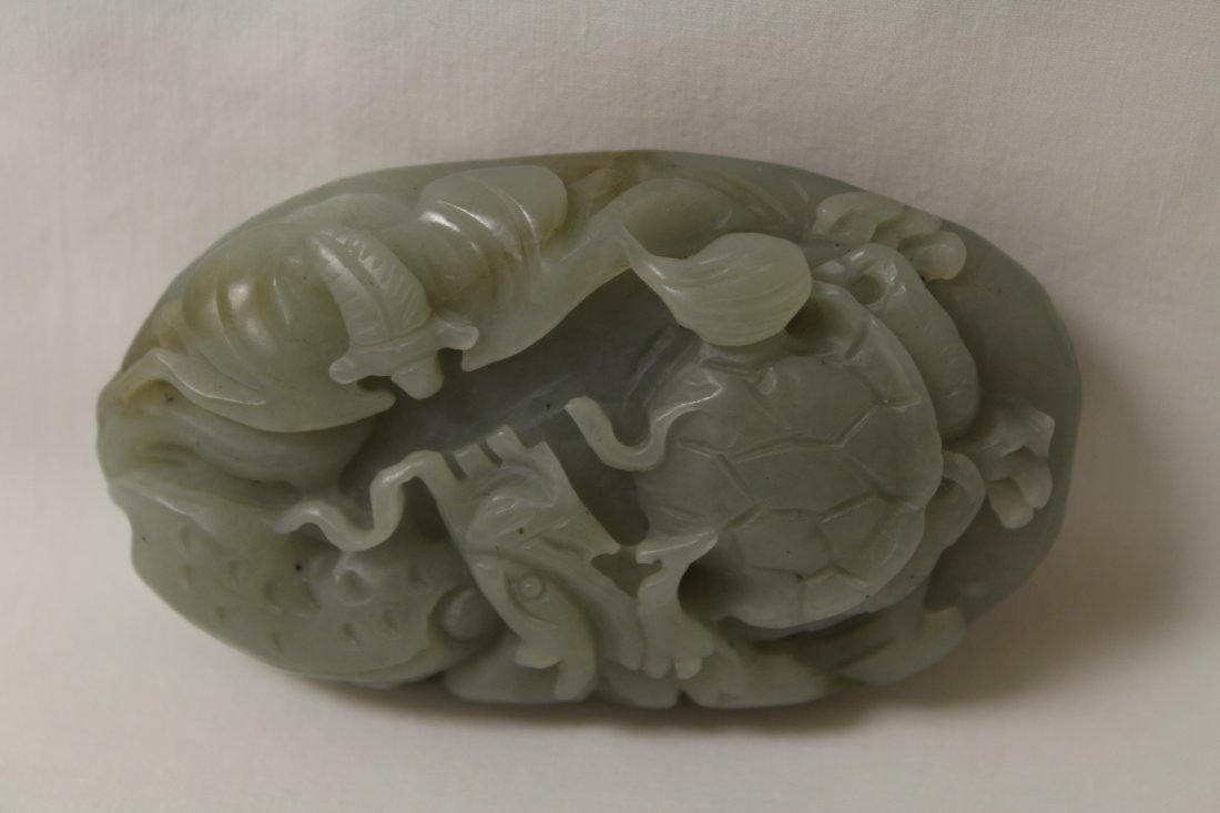 Chinese celadon jade carved ornament - 7